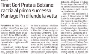Tinet Gori Prata a Bolzano: caccia al primo successo. Maniago Pn difende la vetta