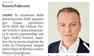 Chions Fiume, accordo con l'Igor Novara campione d'Europa