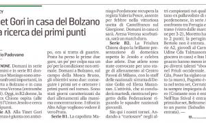 Tinet Gori in casa del Bolzano alla ricerca dei primi punti