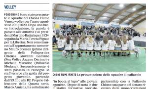 Serata speciale targata Cvf volley, presentate le formazioni 2019-2020